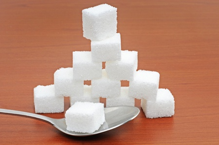 White sugar lumps in a studio shot Stock Photo