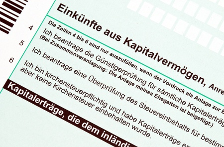 capital gains: German tax form for capital gains