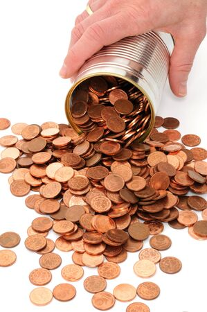 tin can:  One Euro-cent coins in a tin can