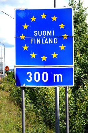 The border between Sweden and Finland, here in Oevertornea Stock Photo - 12942518