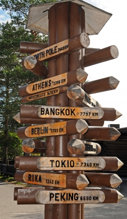 artic circle: International direction sign at Santas Village  in Rovaniemi in Finland