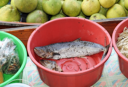 Old fish with flies at a store in Thailand photo