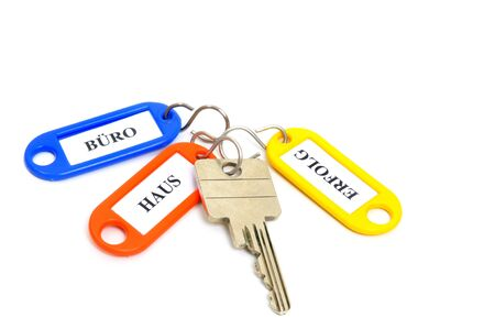 key fob: Key fob in a studio shot, text stands for office, house, success