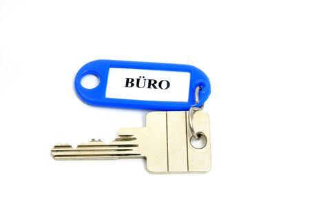 Key fob BUERO = Office  in a studio shot