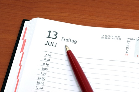 13th: Calender with Friday 13th Stock Photo