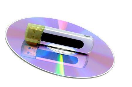 cd rw: CD with USB stick as symbol for data protection
