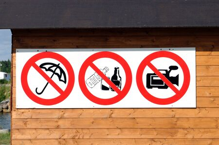 Sign, that forbids filming and other things