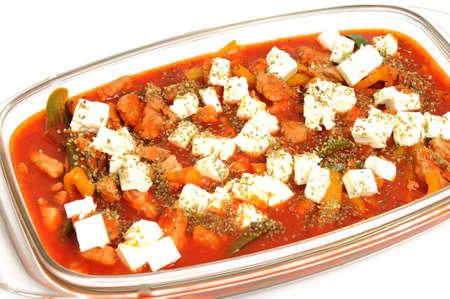Pork fillet au gratin in greek manner photo