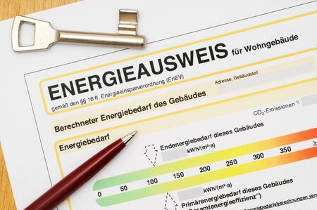 energy performance certificate: Energy performance certificate, like its used for german houses Stock Photo