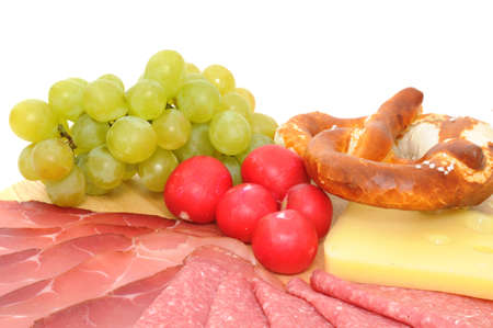 Selection of cold cuts on white Stock Photo - 13323863