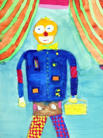 Clown in a multi-colored childrens drawings