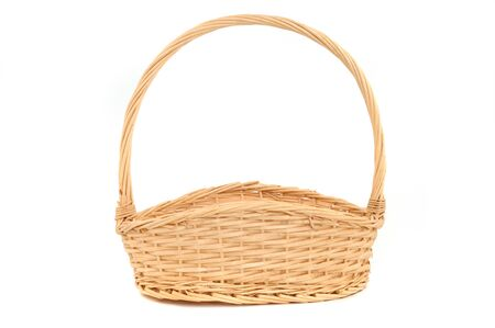hand basket: Basket in front of a white studio background