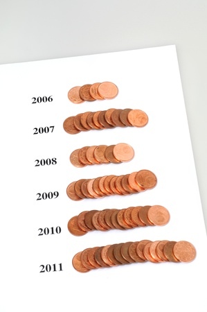 Stacks With One Cent Coins As Symbol For Business Success Stock