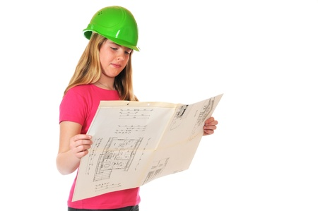 Teenage girl with green hardhat and blueprint photo