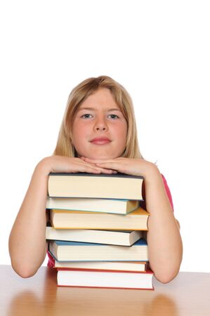 Girl with books in front of a white background photo