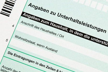 alimony: Official German tax form for alimony