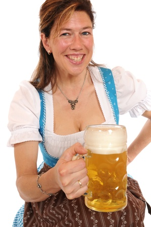 stein: Woman with a Bavarian Dirndl and a beer stein Stock Photo