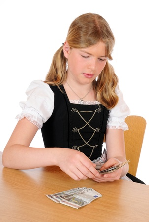 euromoney: Teenage girl is counting Euro-money Stock Photo