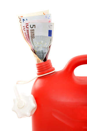 gas can: Red gas can with Euro in a studio shot