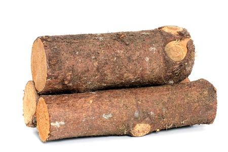 Holz-Log als Brennholz vor einem weißen Hintergrund Lizenzfreie Bilder - 14237951