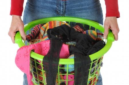 dry cleaned: Basket full of laundry