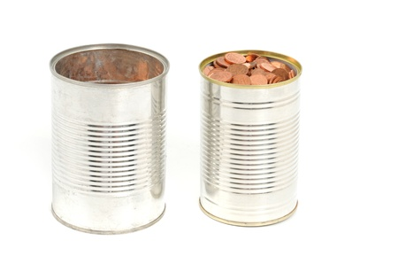 finanzen: One Euro-cent coins in a tin can