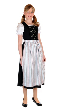 Girl with bavarian dirnd lin front of a white background Stockfoto