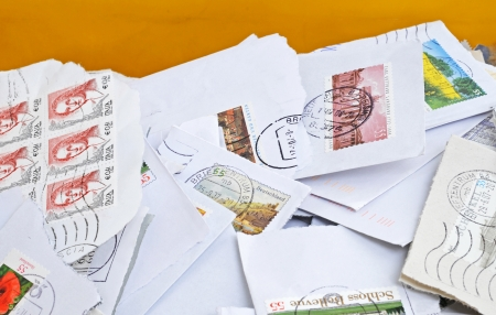 franked: Stack of stamps of the daily mail
