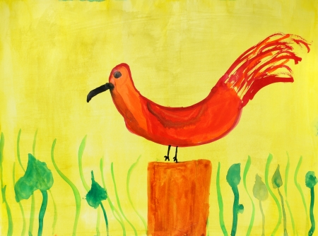 Bird  in a multi-colored childrens drawings