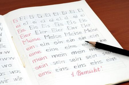 workbook: Workbook of a German elementary school with first exercises