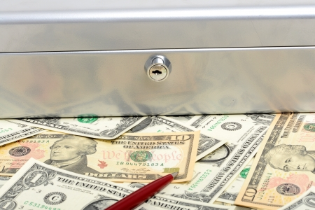 lockbox: Money and cash box as symbol for security