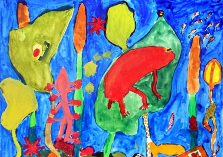 Underwater world in a multi-colored childrens drawings Stockfoto