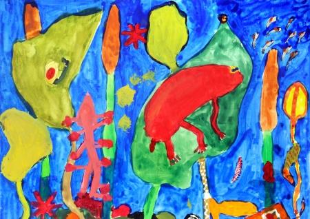 Unterwasserwelt in einem bunten Kinder-Zeichnungen
