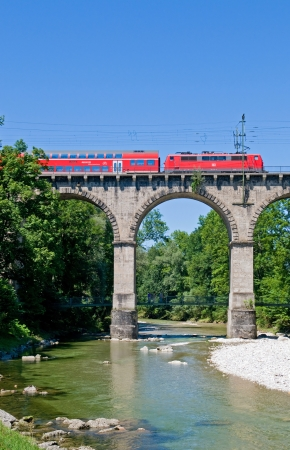 sunshines: Double deck coach on the so called viadukt an Traunstein in Bavaria