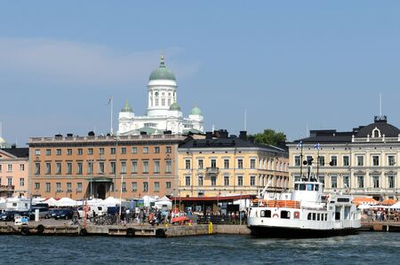sunshines: View of Helsinki from the Southern Harbour over market place to cathedral