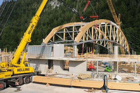 constrution site: The new building of the ice hall at Inzell in Upper Bavaria