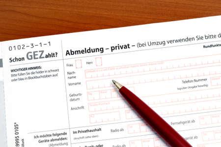 honorarios: Unsubscribition para el pago de cuota de TV y Radio de licencia en Alemania Editorial