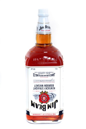 4 5: A 4,5 liter bottle of Jim Beam Whiskey with label upside down