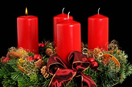 Advent wreath with red candles photo