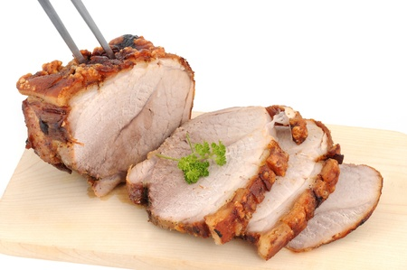 loin: Typical Bavarian roast pork in a studio shot Stock Photo
