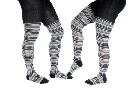 Legs in a grey pattern pantyhose Stock Photo - 14622453