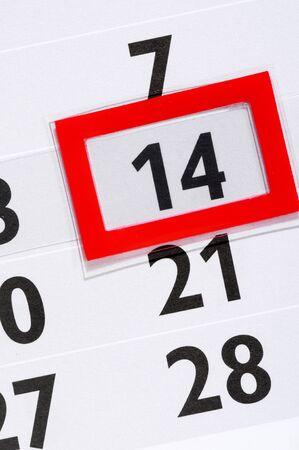 14th: Calendario con marcada 14a Foto de archivo