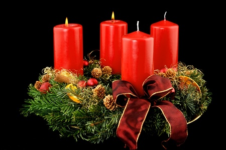 Advent wreath with red candles Stock Photo - 14658986