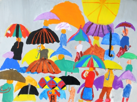 People in a multi-colored childrens drawings