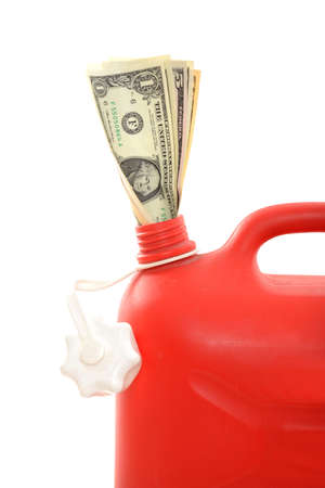 Red gas can with dollar in a studio shot photo