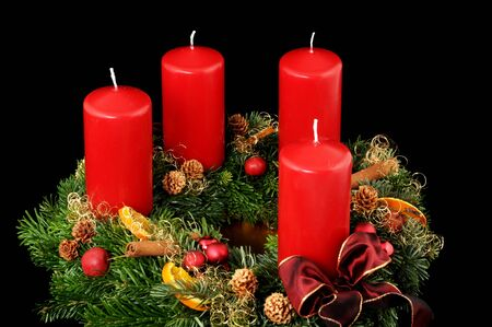 Advent wreath with red candles Stock Photo - 14699546