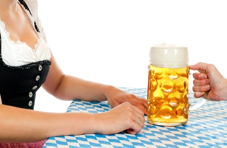 prosit: Woman with Bavarian beer glass