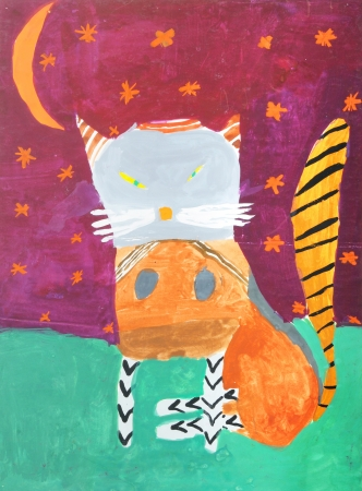 Cat in a multi-colored childrens drawings