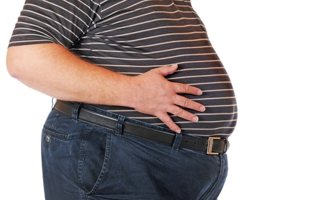 belly button: Fat man isolated on white Stock Photo