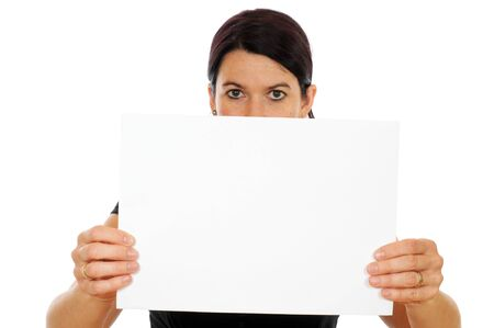 A young woman is showing a piece of papier Stock Photo - 15348079